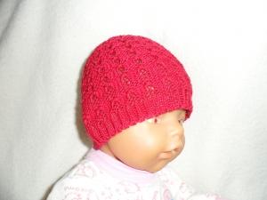 Puppenmütze, Strickmütze, Mütze, KU 33 - 35 cm, rot, 100% Baumwolle - Handarbeit kaufen
