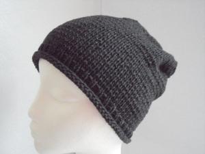 Beanie, Mütze mit Rollrand, gestrickt, anthrazit, KU 54/ 56 cm, unisex - Handarbeit kaufen