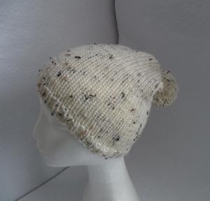 Bommelmütze, Mütze mit Bommel, gestrickt, Farbe: beige-meliert, KU 50-52 cm, unisex - Handarbeit kaufen
