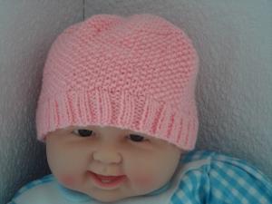 Babymütze, Strickmütze, Mütze, KU 42 - 44 cm, rosa  - Handarbeit kaufen