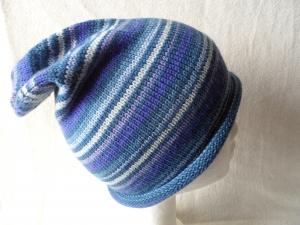 Beanie, Mütze mit Rollrand, Farbverlauf  blau/lila, Umfang: 50 - 52 cm  - Handarbeit kaufen