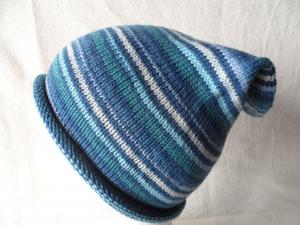 Beanie, Mütze mit Rollrand, Farbverlauf  blau/grün, Umfang: 50 - 52 cm   - Handarbeit kaufen