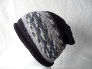 Beanie, Mütze mit Rollrand, Farbverlauf  schwarz/grau, Umfang: 50 - 52 cm   - Handarbeit kaufen