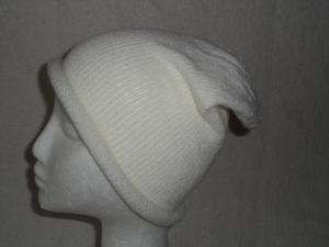 Beanie, Mütze mit Rollrand, weiß,Umfang: 50 - 52 cm   - Handarbeit kaufen