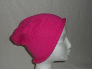 Beanie, Mütze mit Rollrand, pink,Umfang: 50 - 52 cm    - Handarbeit kaufen