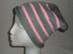Beanie, Mütze mit Rollrand, gestrickt, grau mit rosa Streifen, KU 54/ 56 cm, unisex  - Handarbeit kaufen