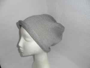 Beanie, Mütze mit Rollrand, gestrickt, grau , KU 58-60 cm, unisex  - Handarbeit kaufen