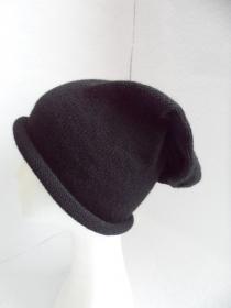 Beanie, Mütze mit Rollrand, gestrickt, schwarz, KU 58-60 cm, unisex   - Handarbeit kaufen