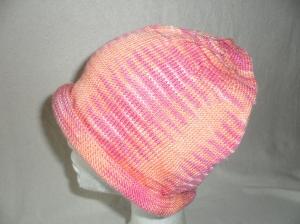 Beanie, Mütze mit Rollrand, gestrickt, Farbverlauf: orange, KU 54/ 56 cm, unisex   - Handarbeit kaufen