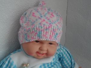 Babymütze, Strickmütze, Mütze, KU 44 - 46 cm, Farbverlauf weiß/blau/rosa - Handarbeit kaufen
