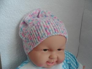 Babymütze, Strickmütze, Mütze, KU 48 - 50 cm, Farbverlauf weiß/blau/rosa  - Handarbeit kaufen