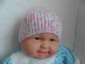 Babymütze, Strickmütze, Mütze, KU 40-42 cm, Farbverlauf weiß/blau/rosa   - Handarbeit kaufen