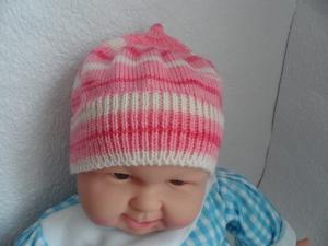 Babymütze, Strickmütze, Mütze, KU 44 - 46 cm, Farbverlauf rosa - weiß   - Handarbeit kaufen