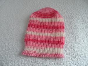 Babymütze, Strickmütze, Mütze, KU 34-36 cm, Farbverlauf rosa - weiß    - Handarbeit kaufen
