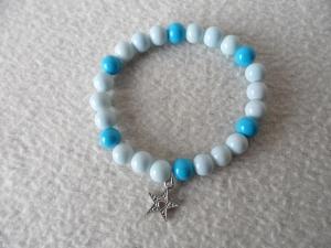Perlenarmband hellblau/blau mit Sternanhänger - Handarbeit kaufen