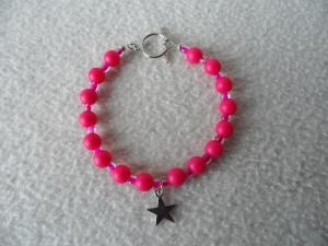 Perlenarmband pink,Sternanhänger,Knebelverschluss - Handarbeit kaufen