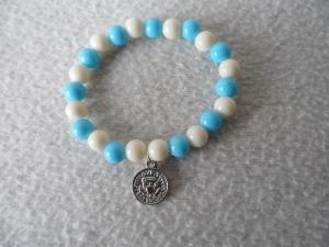 Perlenarmband weiß/blau,Anhänger - Handarbeit kaufen
