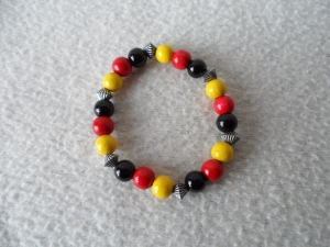 Perlenarmband, Fanarmband, schwarz/rot/gold - Handarbeit kaufen