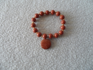 Perlenarmband,Acrylperlen, braun, Halbedelsteinanhänger   - Handarbeit kaufen