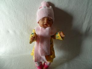 Puppenwinterset Mütze und Schal gestrickt   - Handarbeit kaufen