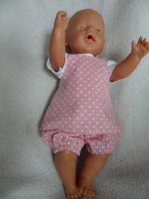 2tlg. Puppen Sommeroutfit, Puppenträgerrock und kurze Pumphose - Handarbeit kaufen