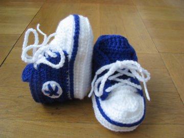 Babyschuhe, gehäkelt, royalblau, 9 cm (0-3 Monate)
