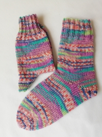 Socken, handgestrickt, bunt, Größe 38/39, aus 6-fädiger Sockenwolle