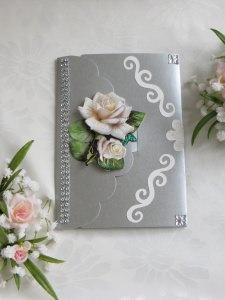 Hochzeitskarte mit weißen Rosen,  Glückwunschkarte