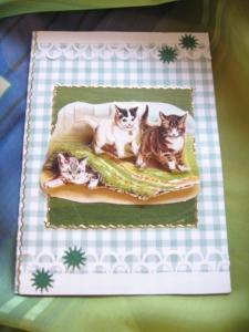 Geburtstagskarte mit Kätzchen, Katzenkarte