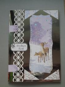 Edle große Weihnachtskarte mit Damwild, Hirsch, Reh