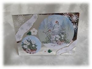 Edle Weihnachtskarte Rotkehlchen,  Geburtstagskarte