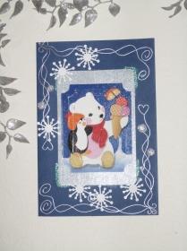 Weihnachtskarte Eisbär und Pinguin