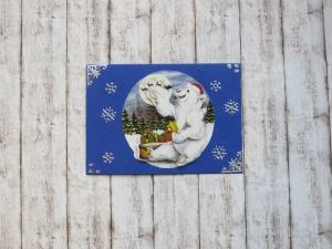 Weihnachtskarte Eisbär, Winterlandschaft