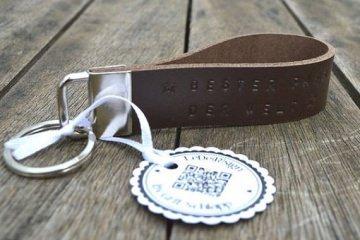 Schlüsselband mit Wunschtext - handgestempelt - Rindsleder - personalisiert