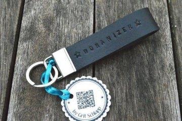 Schlüsselanhänger mit Wunschtext - handgestempelt - Rindsleder - personalisiert