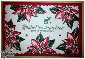 Grußkarte ★ Frohe Weihnachten und Guten Rutsch ★ Weihnachtssterne ★ Poinsettia