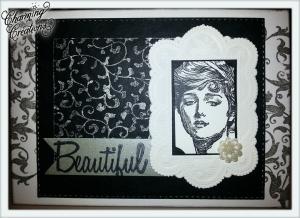 Grußkarte ☀ Beautiful ☀ Frau ☀ Schnörkel ☀ Vintage
