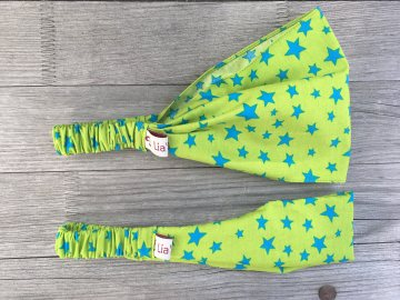 Haarband Kinder Sterne türkis auf grün