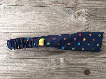 Haarband Kinder bunte Punkte auf dunkelblau schmal