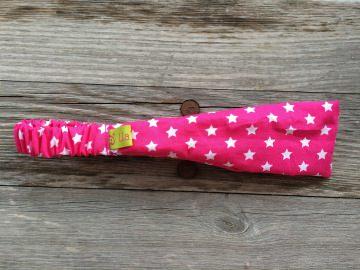 Haarband Kinder pink mit weissen Sternen schmal