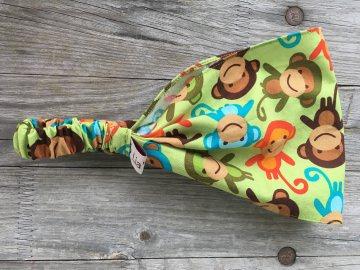 Haarband Jungs bunte Affen auf grün