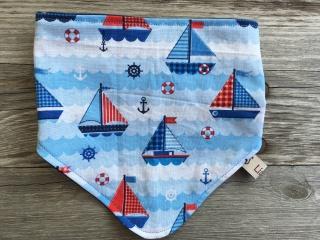 Babyhalstuch / Sabberlatz Segelboot blau
