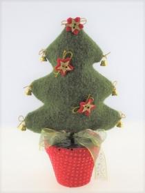 Kleiner Weihnachtsbaum aus Walkloden, im Tontopf