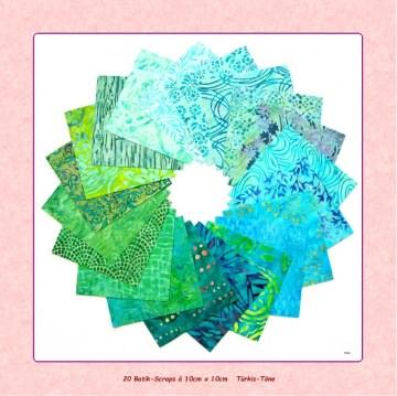 20 Batik-Scraps türkis à ♥10cm x 10cm♥ Patchwork Stoff Precuts Nähen Quilt Stoffpaket