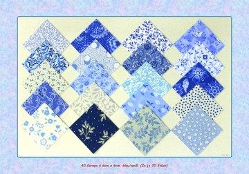 40 Scraps blau/weiß à ♥ 6cm x 6cm ♥ Patchwork Stoff Precuts Nähen Quilt Stoffpaket