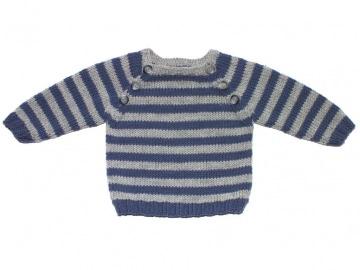 Mit dem geringelten Babypullover in den Winter - handgefertigt aus weicher Wolle (Merino)