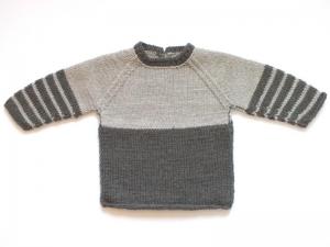 Warmer, handgestrickter Babypullover in schicken Brauntönen - ideal für kühle Tage - Größe 62 - 68  (3 - 6 Monate) - Handarbeit kaufen