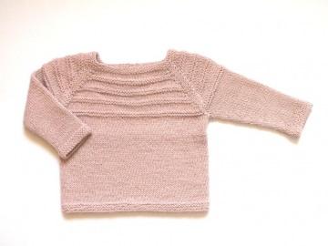 Süßer Pullover mit schickem Streifenmuster in rosé  -  handgestrickt aus weicher Wolle (Alpaca) - Größe 68 - 74 (6 - 9 Monate) - Handarbeit kaufen