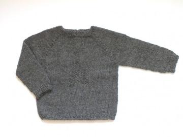 Toller dunkelgrauer Pullover mit einem Stern, handgestrickt aus weicher Wolle (Alpaca) - ein tolles Geschenk - Größe 68 - 74  (3 - 9 Monate) - Handarbeit kaufen