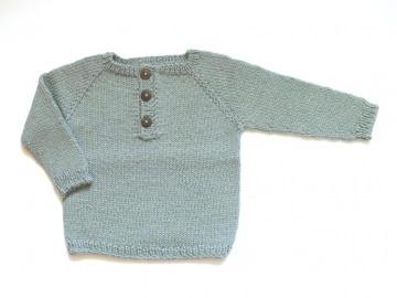 Wunderschöner Pullover mit Knopfleiste in grau-grün, handgestrickt aus weicher Alpakawolle, ideal für den Winter